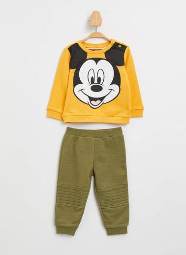 DeFacto Erkek Bebek Mickey Mouse Lisanslı Alt Üst Takım Sarı